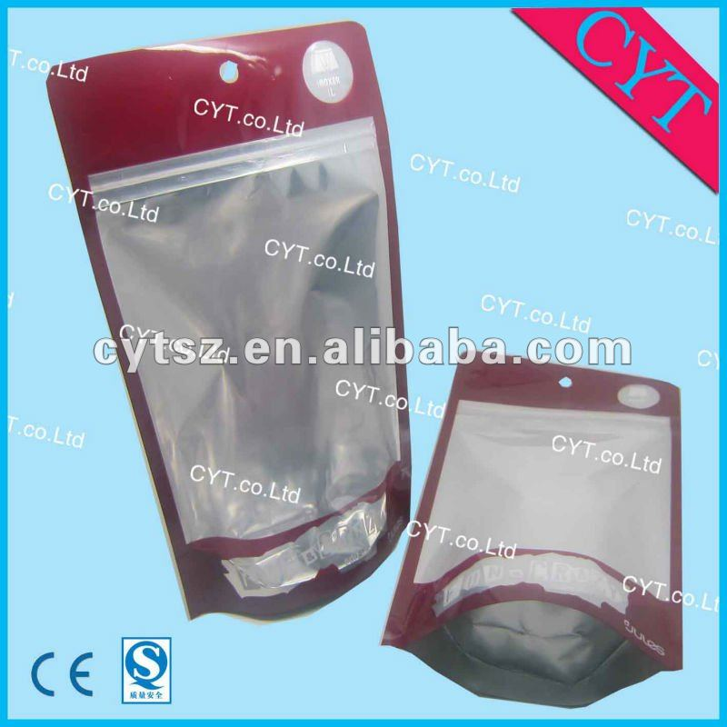 stand up zipper bag for man shorts with clear window on the front
