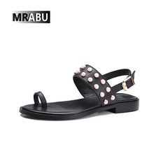 big sizes 42 43 rivets thong leather ladies fashion sandals back straps attractive style flat women shoes