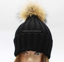 knitted winter cap with raccoon top ball/2015 New knitting woolen yarn hats raccoon fur pom pom hats