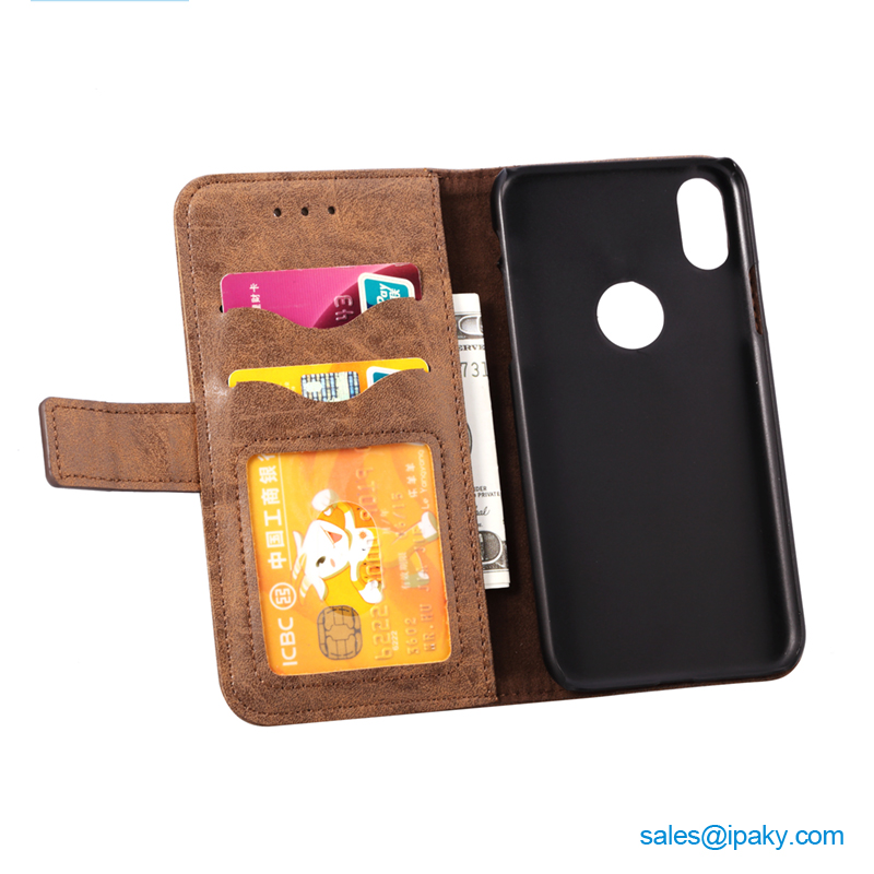 Smart Phone Leather Cover Mobile Cell Phone Case With Business Card Holder Wallet Phone Case For Iphone 8