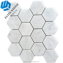 Carrara White 3 inch Hexagon Marble Mosaic Polished