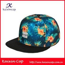 full floral pattern printing snapback hats with black suede flat brim and woven label patch