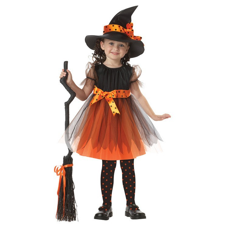 Kids little witch Cosplay Costume hag uniforms cosplay Dress Halloween fancy dress Costume