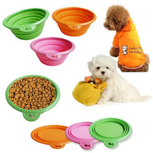 New Collapsible Food Water Feeder Silicone Portable Folding Travel Pet Dog Bowl Silicone Foldable Dog Cat Pet Bowl