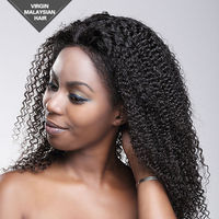 Unprocessed Natural Color Kinky Curl Style Malaysian Virgin 100% Human Hair Wigs