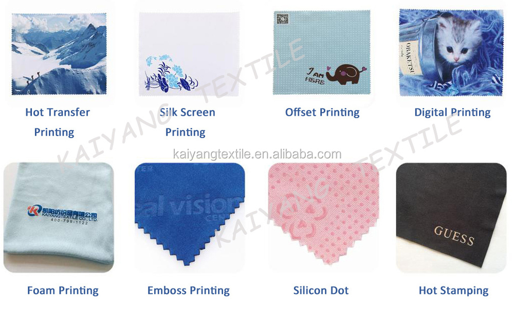 microfibre wiping cloth with printed customized logo