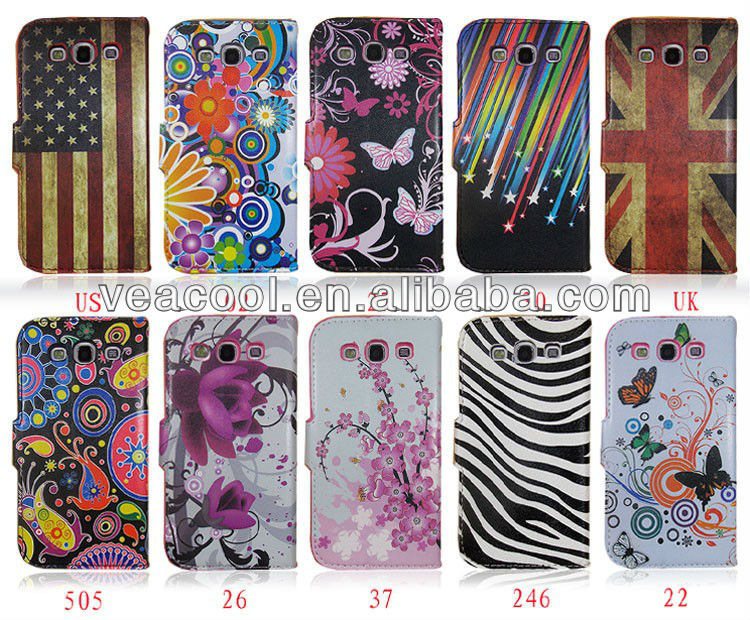 Flower Series Magnetic Flip Wallet Leather Stand Case Cover for Samsung Galaxy S3 i9300