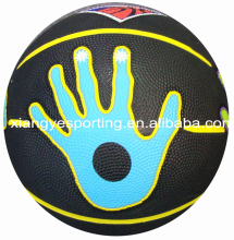 Promotional rubber size 5 black basketball with hand print
