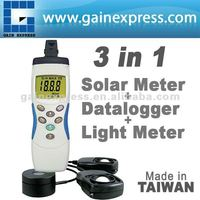 Portable 3 in 1 Digital Solar Power Light LUX UVA Meter and Data logger Made in Taiwan