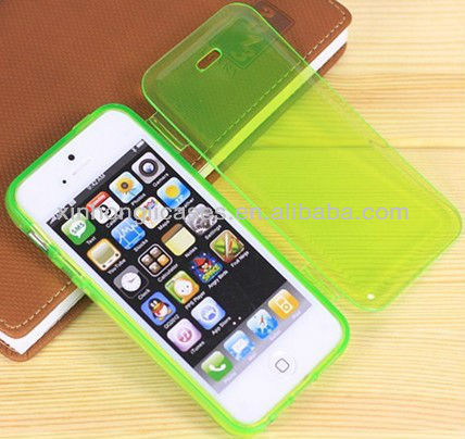 New Soft Rubber TPU Silicon Transparent Cover Case For Apple iPhone 5 5G fashion fluorescent green