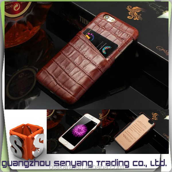 New Products Crocodile Grain Leather Smart Phone Case for iphone 6 Plus With Card Holder