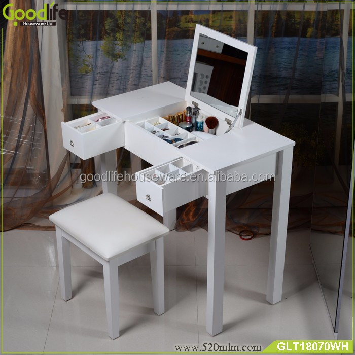 Stylish French White Girls Vanity Dressing Table With Mirror
