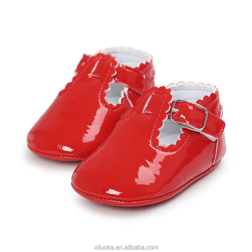 Latest fashion toddler baby shoes red color girls shoes princess