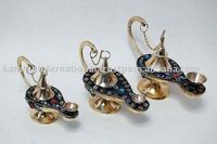 Beads decorated brass aladdin genie oil lamp