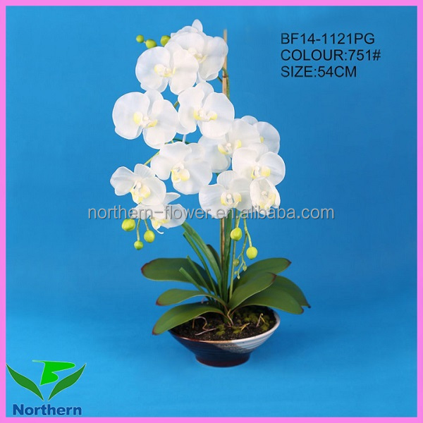 new design 54cm wholesale handmade artificial flower white orchids