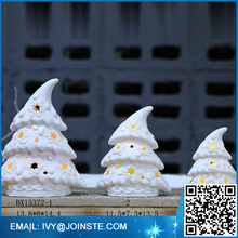 Porcelain white Christmas tree ceramic Christmas ornaments with led