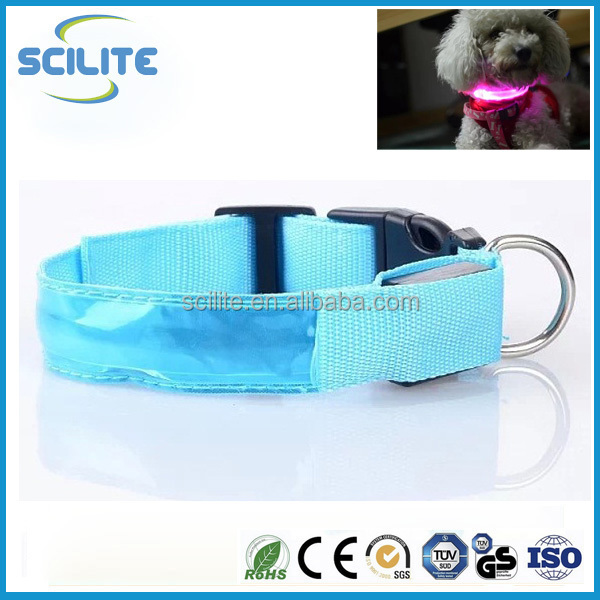Colorful lattice reflective dog and cat collars LED flashing pet collars