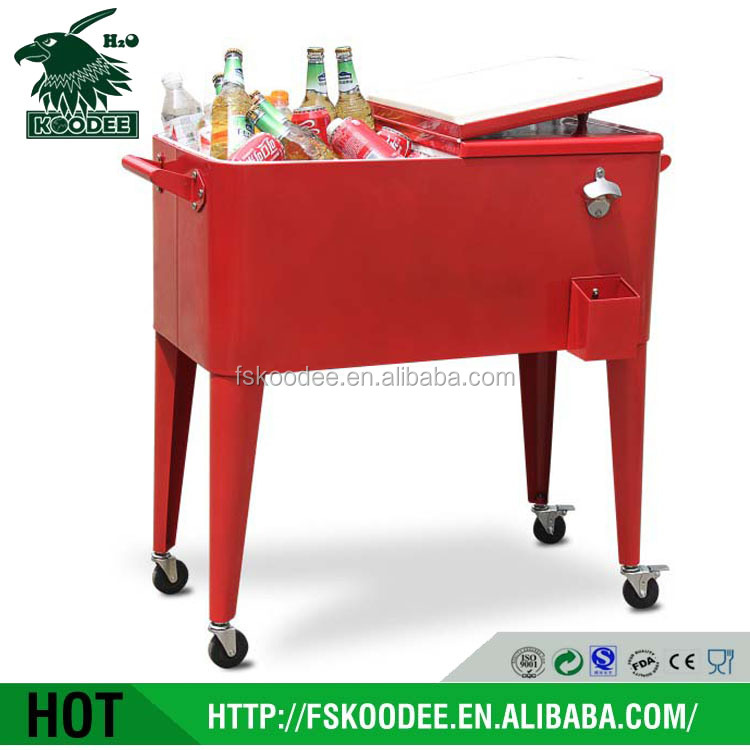Rolling ice bucket cooler box for beverage