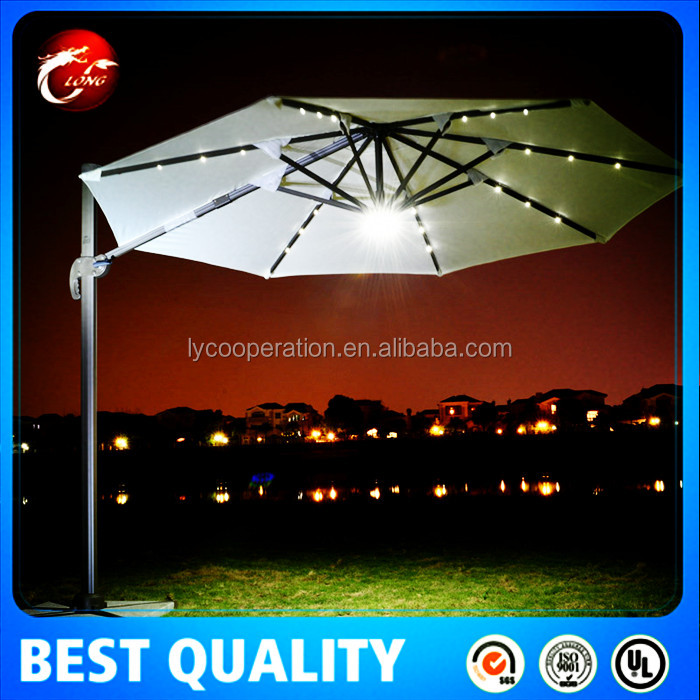 10' Deluxe Solar LED Lighted Patio Umbrella With Tilt Adjustment