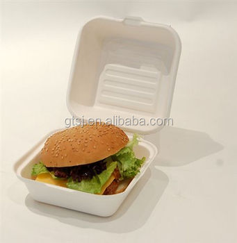 Eco compostable disposable bagasse paper pulp hamburger box