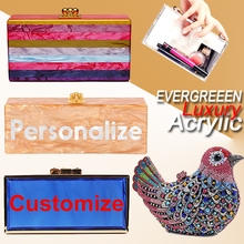 New Design designer letters customized acrylic clutch high quality evening bags wholesale