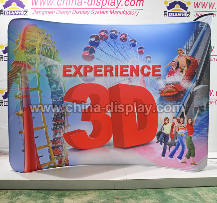 Exhibition display stand tension fabric banner curve straight aluminium backdrop stand