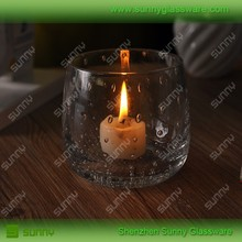 Hot selling glass candle holdler with bubble/ hurricane glass candle holder