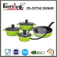 8pcs die casting black knob and silicone rim / inside coating cookware set