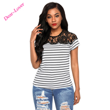 Wholesale Price Striped Cap Sleeve Women Top with Lace Detail