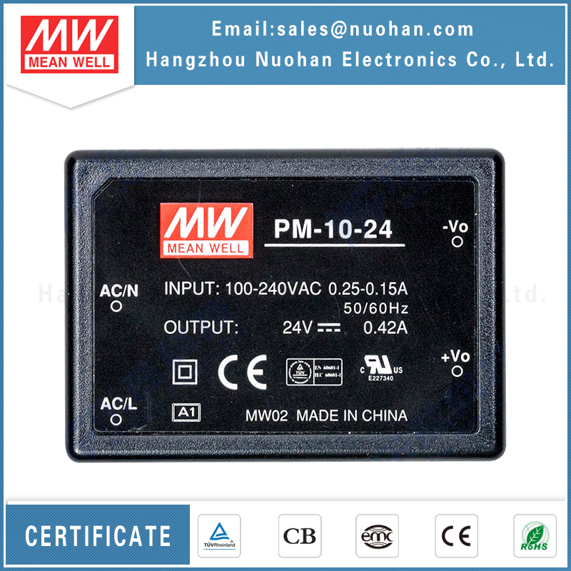 UL approved meanwell on board type pm-10-24 10w 24 volt dc power supply