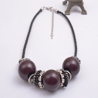N12977-01SPECIAL STYLE WOMEN FASHION LEATHER NECKLACE PURPLE COLLAR JEWELLERY
