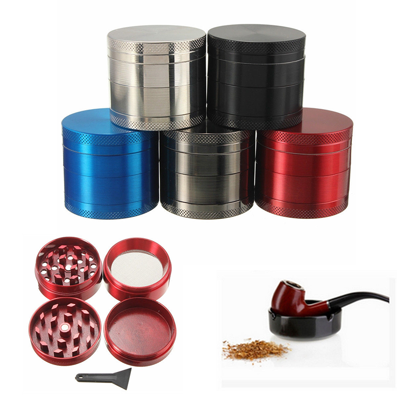 2017 new 40mm 4 layers Metal Weed Pollinator Cigarette Crusher Spice Tobacco Herb Grinder For smoking Cigarette Tools 5 Colors