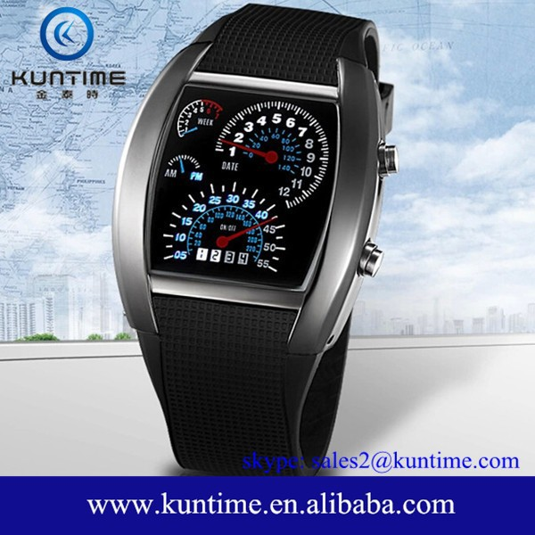 hot sale Sports Flash LED Car Speedometer Meter Dial Men Gift Watch