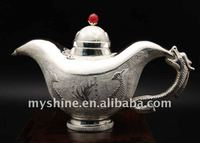 Myshine Chinese style unique design carved silverware teapot