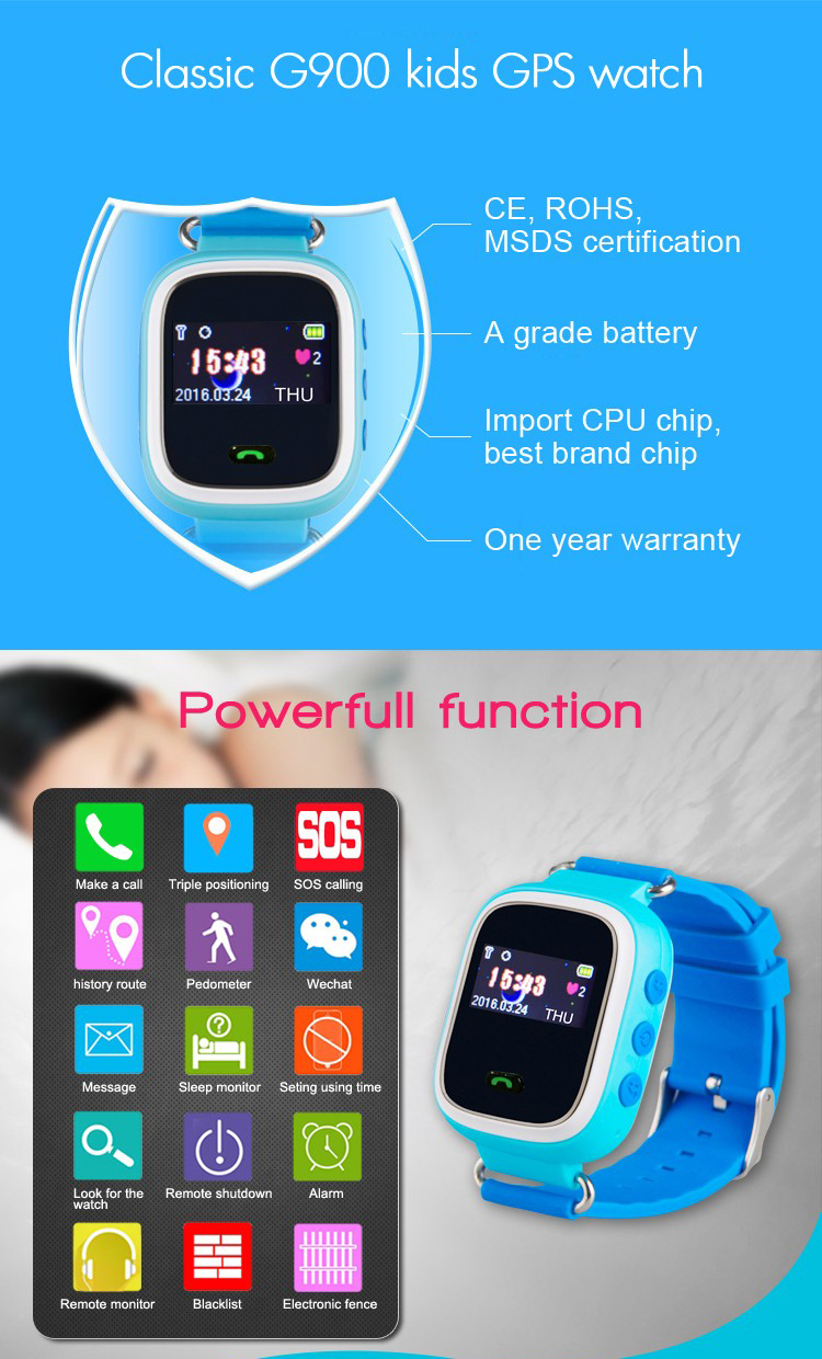 "0.96""color display 400mAH SOS kids gps tracker with sim card smart watch"