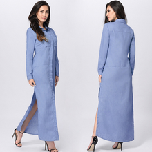 DL20181E 2017 fashion dress long sleeve blue denim women maxi dress