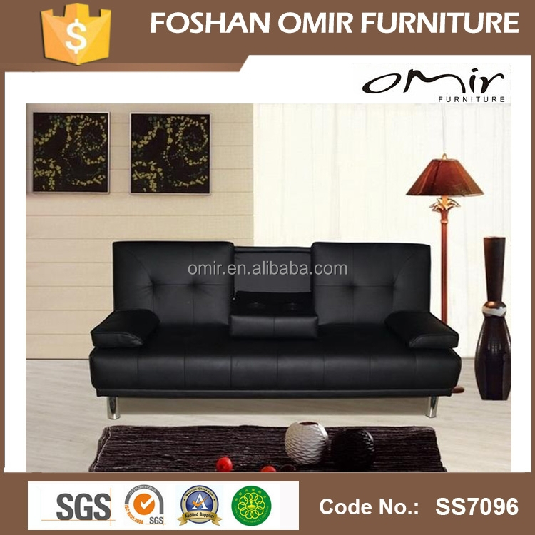 Large Italian Faux Leather Sofa Bed with Chrome Legs