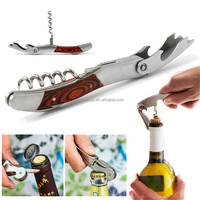 2015 Hot Sale New Arrival Best Price Wood Handle Stainless Corkscrew Double Hinge Waiters Wine Bottle Opener