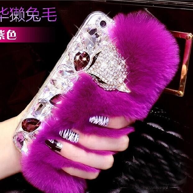 for iPhone 7 Luxury fox diamond bling bling case, for iPhone 7 Plus fur case cover