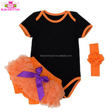 0-2 Years Baby Girls black Tutu Romper orange binding Fancy stretch knit cotton Costume Halloween baby rompers with bloomer