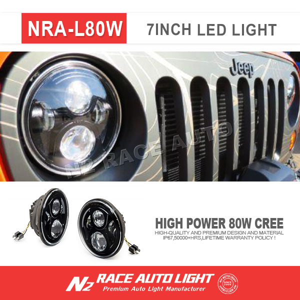 N2 race auto 7 Inch Halo Angel Eyes LED Projector Headlights BLACK For 97-16 Jeep Wrangler (Fits: 2007 Jeep Wrangler)