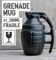 Pineapple Hand Grenade Designed Ceramic Mug Cup Novelty Grenade Tea Cup White and Black with Lid Handgrip
