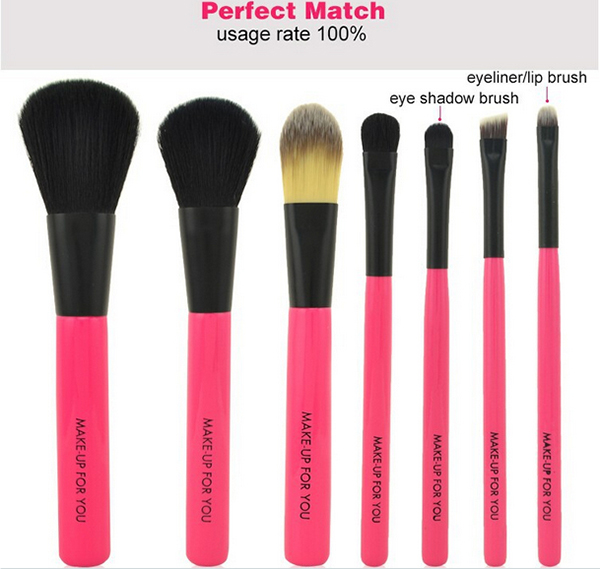 Professional Hot Pink Makeup Brush Set 7pcs Beauty Care Cute Makeup Brush Set, Soft Synthetic Hair,Wood Handle,Tin Box