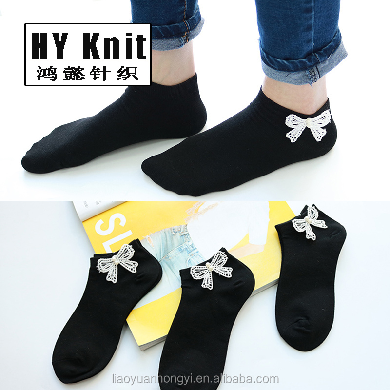 Spring lovely fashion cotton bowknot women ankle socks