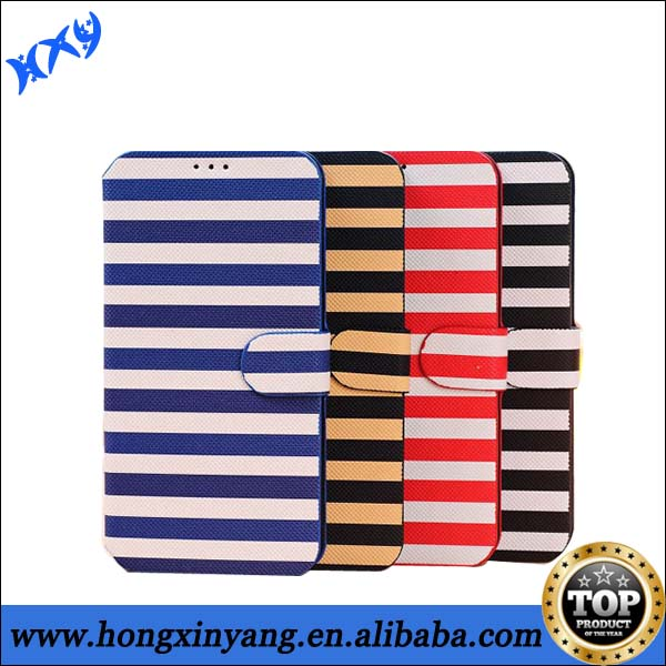 Popular Stripe Leather Case,Cell Phone Case For Samsung Galaxy Mega 5.8 i9150.