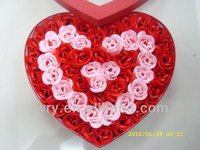 2015 New 50PCS BICOLOR ROSE SOAP FLOWER IN HEART CARBOARD BOX