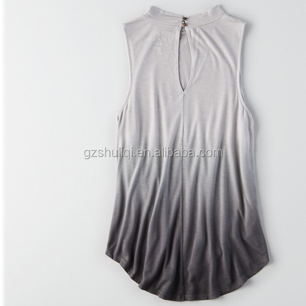 Soft and sexy swing mock neck tank top women ombre effect & curved hem tank