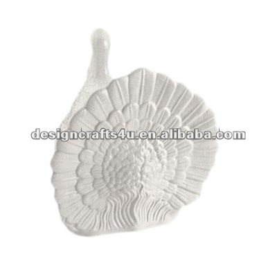 Handmade polyresin decorative white thanksgiving turkey