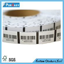 Factory direct custom strong adhesive clothes barcode label