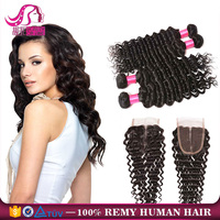 100% Brazilian Human Hair Closure Piece with Part, Virgin Hair Deep Wave Bundles with Lace Closure,Cheap Hair Piece Closure Lace